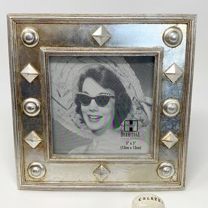 "Aged Silver Square Geometric Frame- 5"" x 5"" Photo"